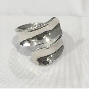 Sterling Silver Wrap Concave Bypass Ring Sz 8.75